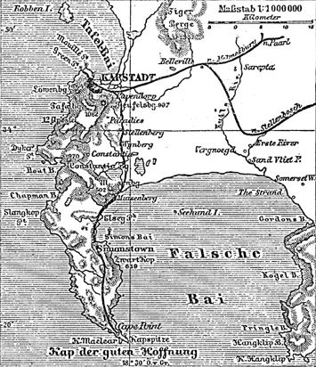 1800s map of Cape Town