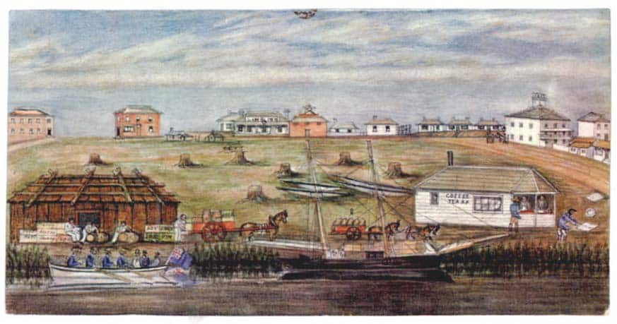 Landing at Melbourne – watercolor by W. Liardet (1840)