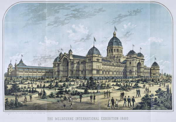 Lithograph of theRoyal Exhibition Building 1880