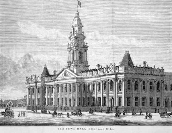 Engraving of South Melbourne Town Hall