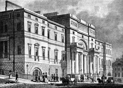 Engraving of Old College as seen in 1827