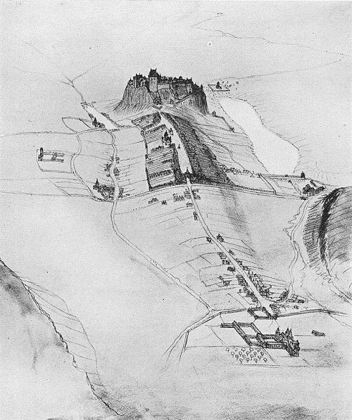 late medieval aerial perspective of the Royal Mile.