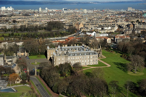 Aerial view of Holyrood Palace