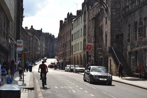Royal Mile street view Edinburgh