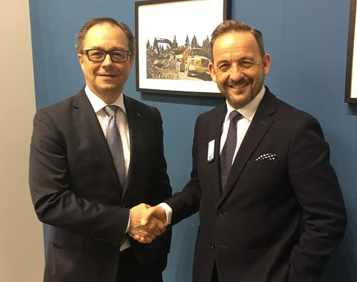 Wolfgang Pech, Senior Vice President, Deutsche Messe (left), with James King, Managing Director, KHL Group.