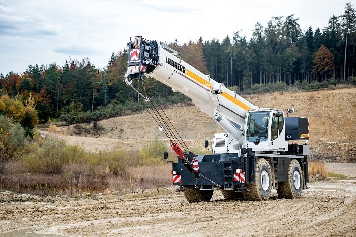 The Liebherr rough terrain cranes are designed for high capacity and safety.